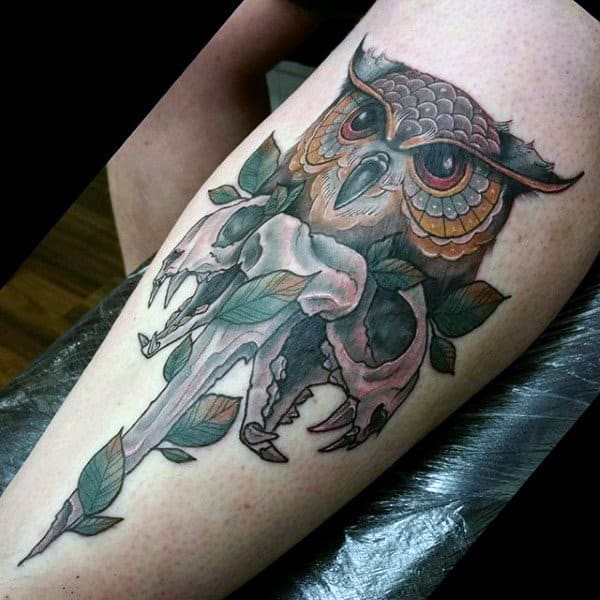 Owl With Skull Bone Shin Tattoo On Gentleman