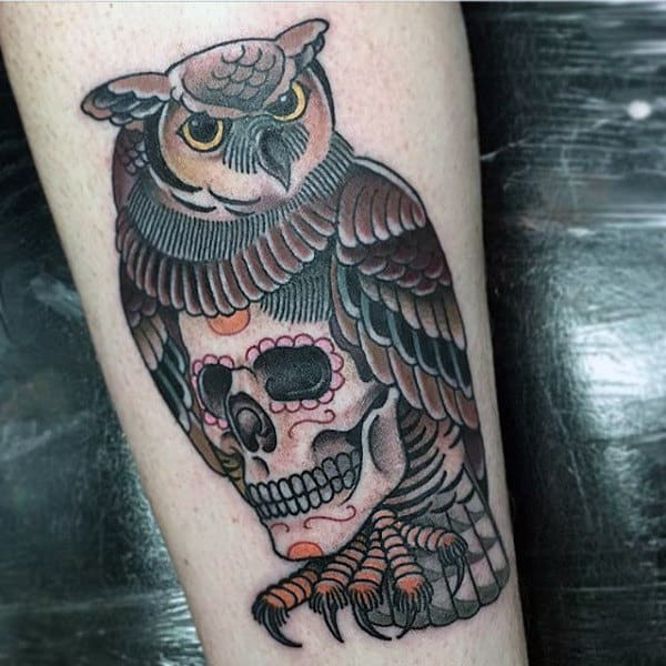 Owl With Skull Detailed Male Traditional Arm Tattoo Ideas