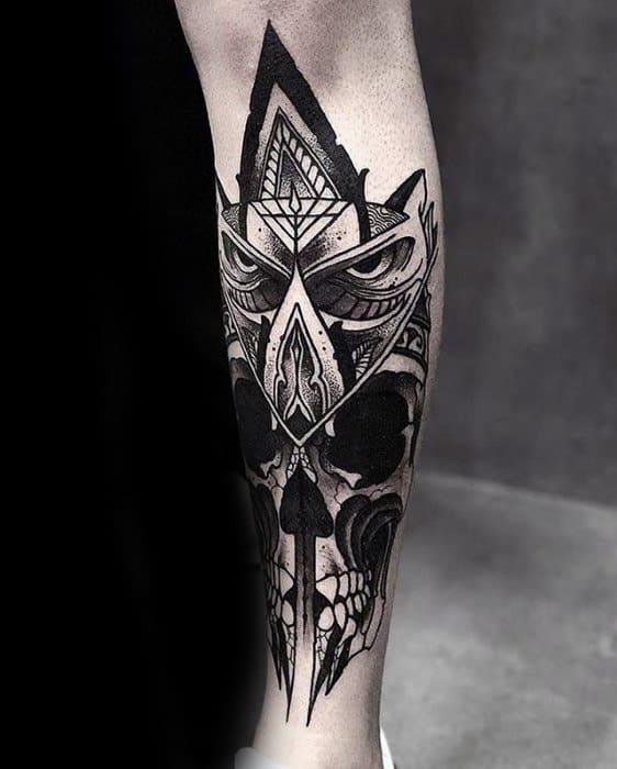 Owl With Skull Leg Artistic Male Great Tattoo Ideas