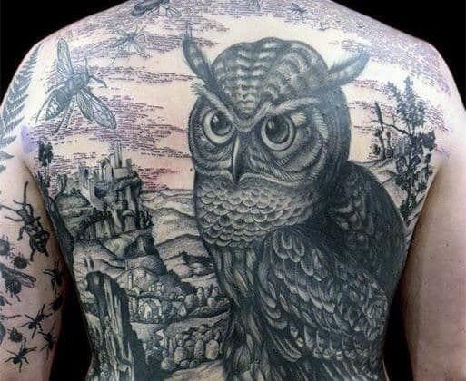 Owl With Village Landscape Guys Full Back Black And Grey Tattoos