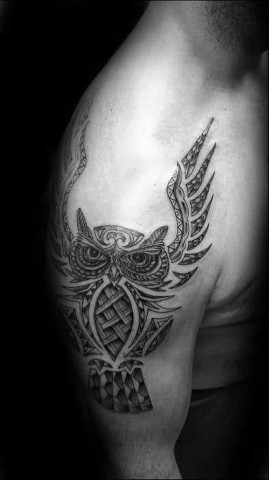 Owl With Wings Guys Tribal Arm Tattoo