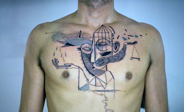 Pablo Picasso Chest Mens Tattoo Ideas