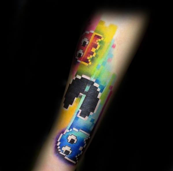 Pacman Themed Guy With Pixel Tattoo Design On Inner Forearm