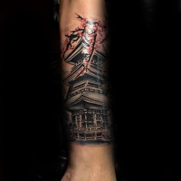 Pagoda Male Tattoos