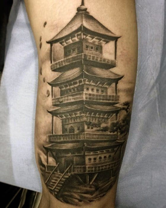 Pagoda Mens Tattoo Ideas