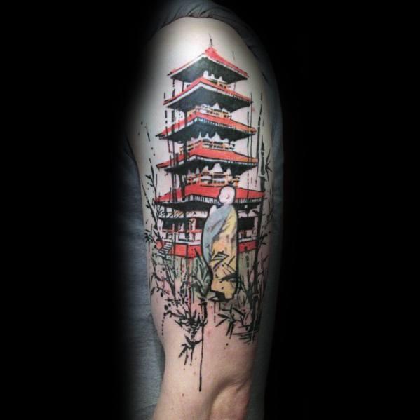 Pagoda Tattoo Design On Man