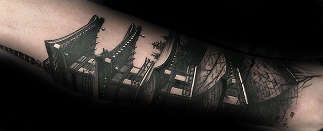 60 Pagoda Tattoo Designs For Men – Tiered Tower Ink Ideas