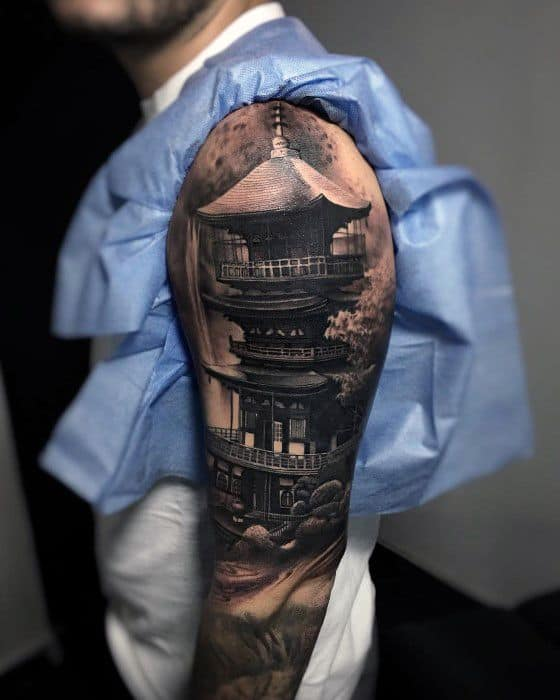 Pagoda Tattoo Ideas For Gentlemen