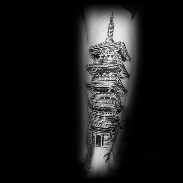 Pagoda Tattoo Ideas For Males