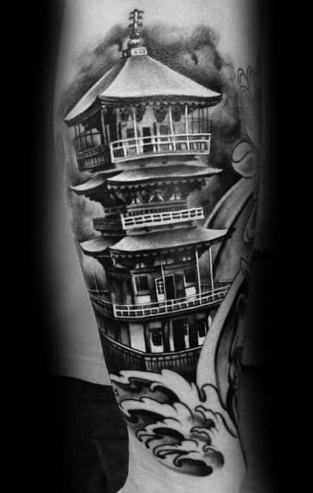 Pagoda Tattoo On Men