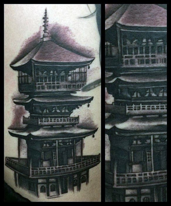 Pagoda Tattoos For Gentlemen