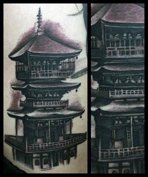 Pagoda Tattoos For Gentlemen