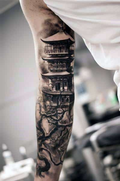 Pagoda Tattoos Guys
