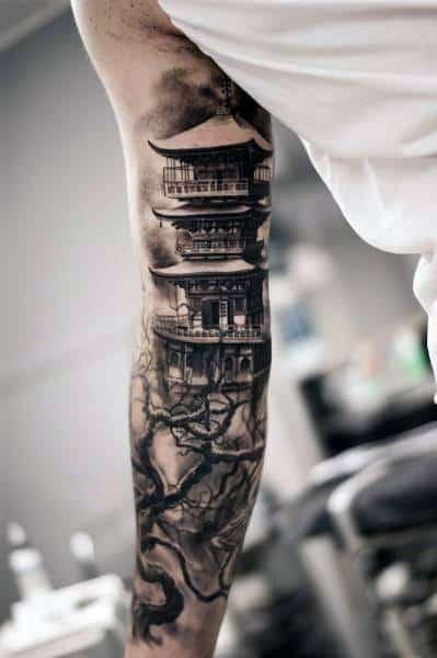 Pagoda Tattoos Guys