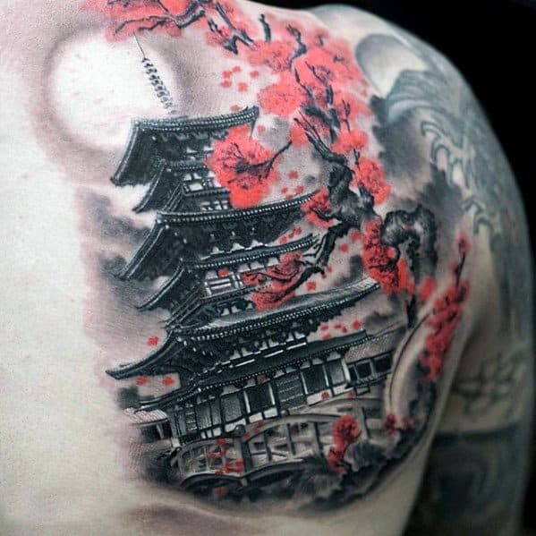 Pagoda Tattoos Men On Shoulder Of Back