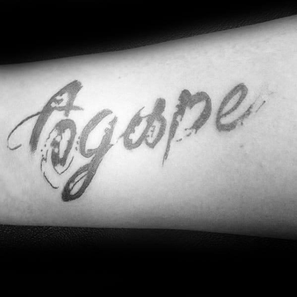 Paint Brush Stroke Agape Word Mens Arm Tattoo