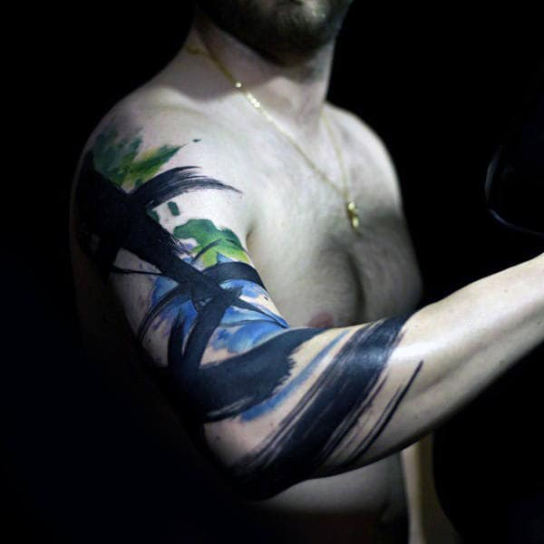 Paint Brush Stroke Artistic Mens Half Sleeve Tattoos
