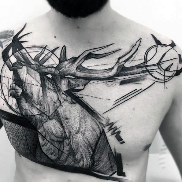 Paint Brush Stroke Awesome Guys Elk Chest Tattoo