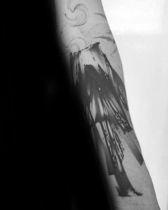 Paint Brush Stroke Forearm Volcano Guys Tattoo Ideas