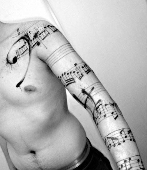 Paint Brush Stroke Full Arm Mens Tattoo With Music Staff Design