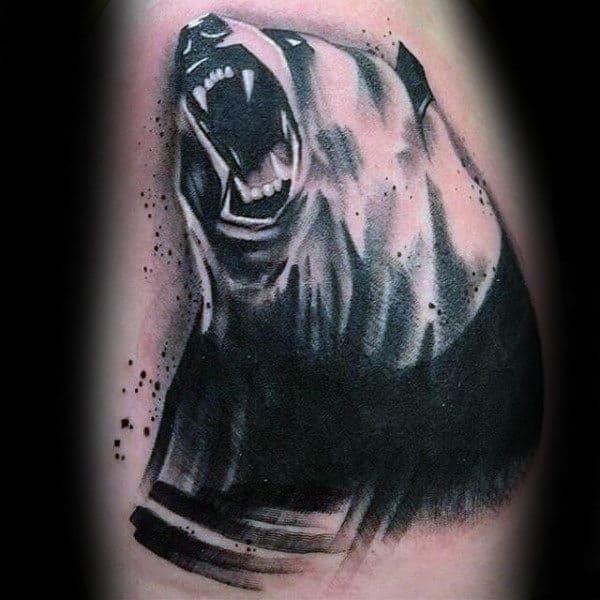 Paint Brush Stroke Male Panda Back Tattoos