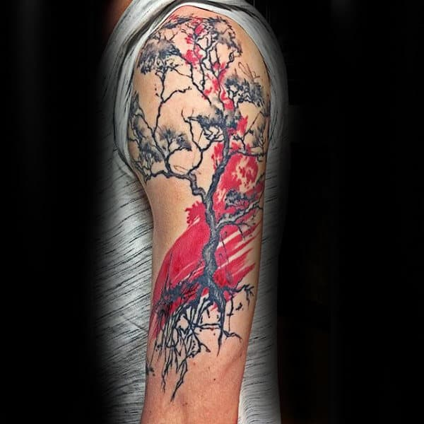 Paint Brush Stroke Red And Black Ink Guys Tree Roots Arm Tattoo