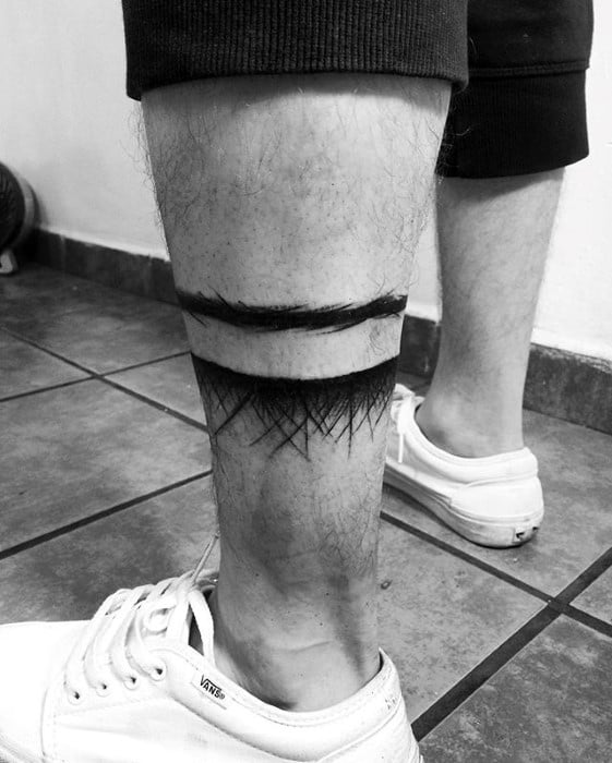 Paint Brush Struke Artistic Guys Leg Band Tattoo