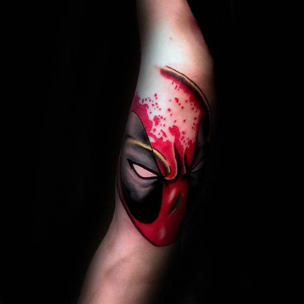Paint Splatter Black And Red Deadpool Mens Arm Tattoo Ideas