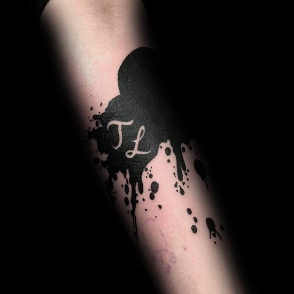 Paint Splatter Black Ink Negative Space Letters Guys Cover Up Tattoos