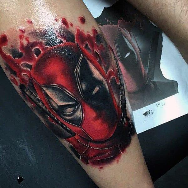 Paint Splatter Deadpool Forearm Tattoos For Guys