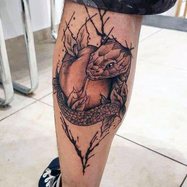 Paint Splatter Guys Leg Calf Snake Wrapped Around Apple Tattoo