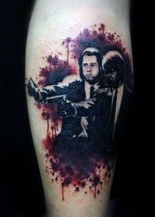 Paint Splatter Leg Calf Pulp Fiction Tattoos For Men