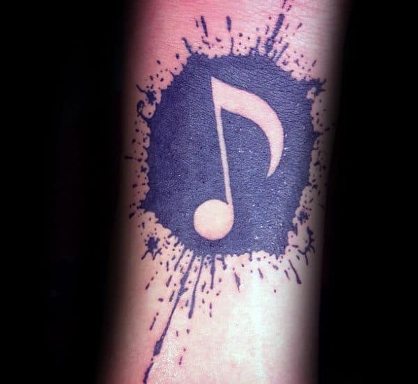 Paint Splatter Mens Music Note Negative Space Small Forearm Tattoo