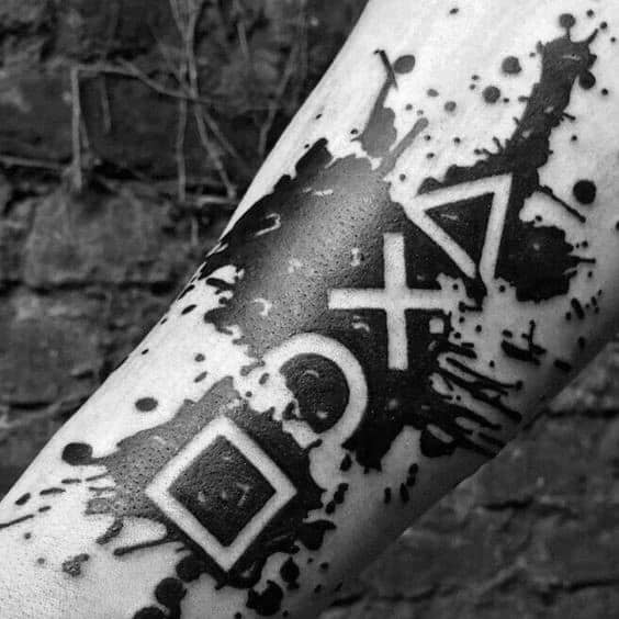 Paint Splatter Negative Space Inner Forearmawesome Ink Playstation Tattoos For Men