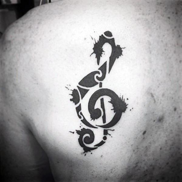 Paint Splatter Simple Music Note Guys Shoulder Tattoo
