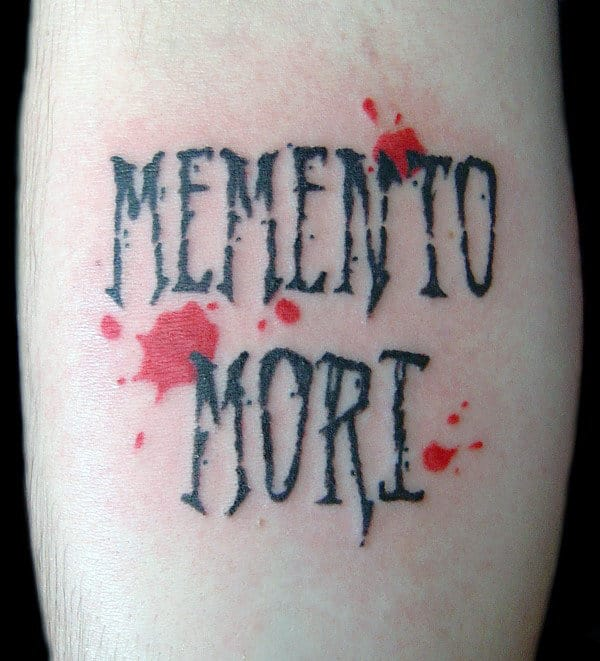 Paint Splatter With Memento Mori Words Mens Small Forearm Tattoos