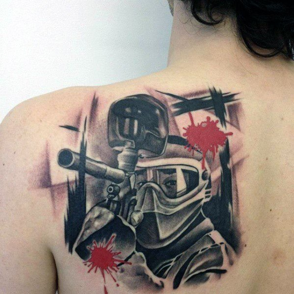 Paintball Shoulder Sports Tattoos Male