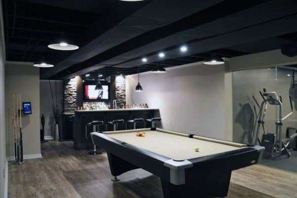 Painted Black Beams Basement Ceiling Ideas