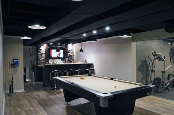 Painted Black Beams Basement Ceiling Ideas