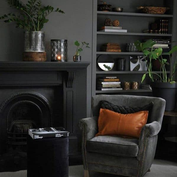 Painted Black Masculine Fireplace Design Inspiration