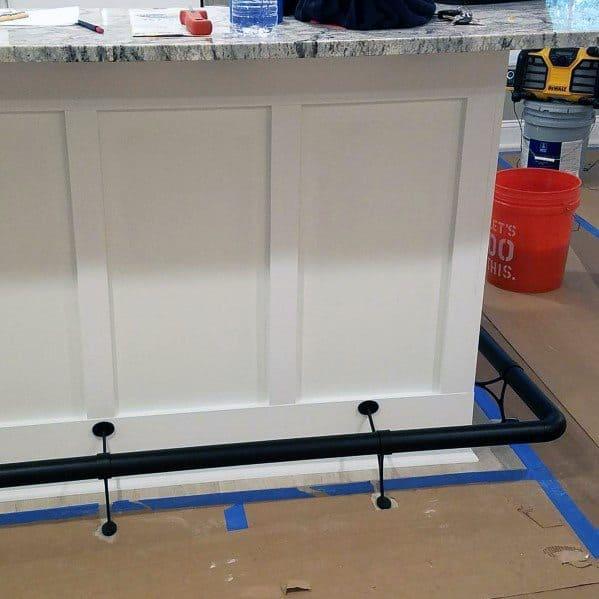 Painted Black Sleek Bar Foot Rail Ideas
