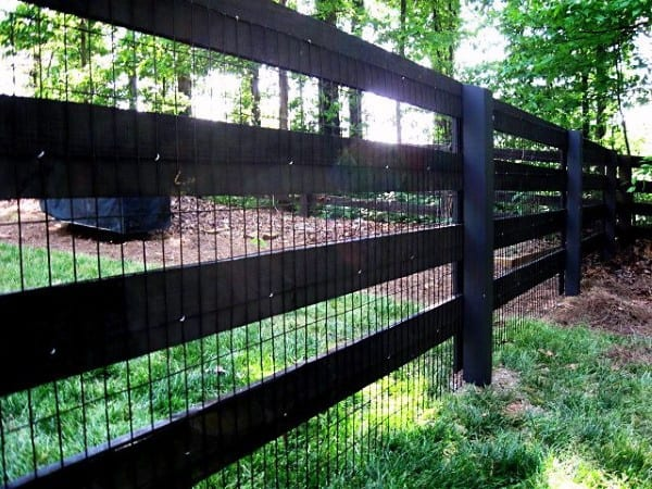 Painted Black Traditional Wire Backyard Fence For Dogs