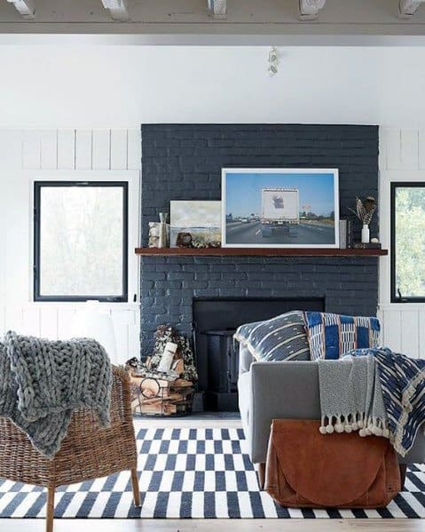 Painted Blue Fireplace Design Ideas