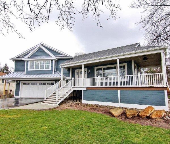Painted Blue Wood Boards Backyard Deck Skirting Design