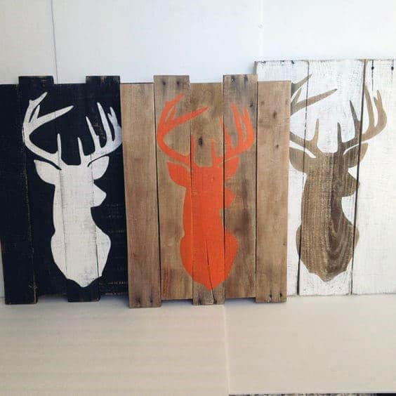 Painted Board Deer Man Cave Decor Art