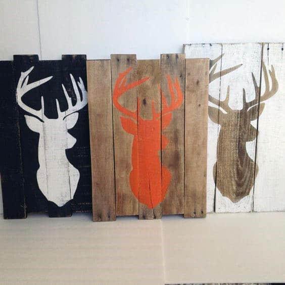 Painted Board Deer Man Cave Decor Art