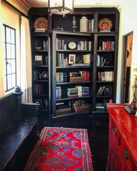 Painted Bookcases Interior Hidden Door Design