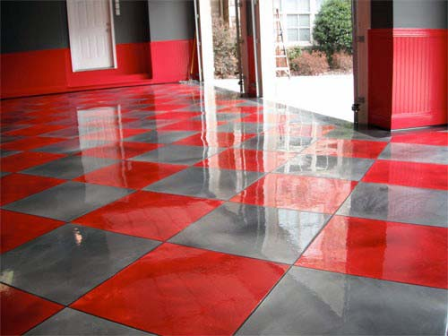 Painted Grey And Red Checkered Epoxy Garage Flooring