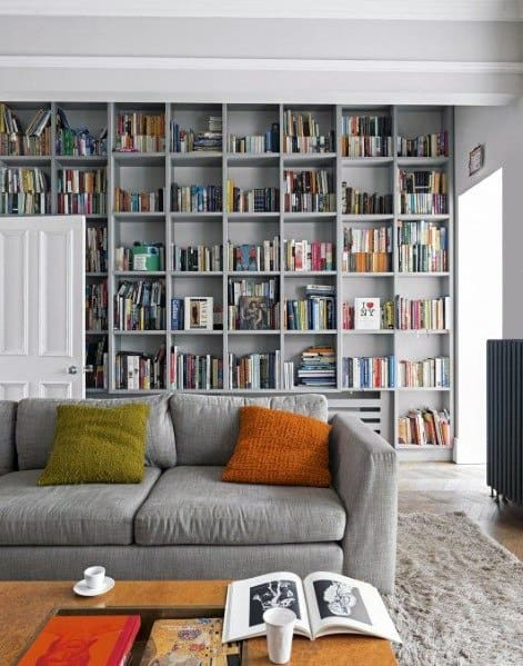 Painted Grey Family Room Floor To Ceiling Bookshelves Ideas