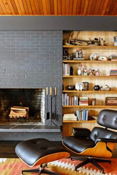 Painted Grey Fireplace Cool Bachelor Pad Interior Ideas